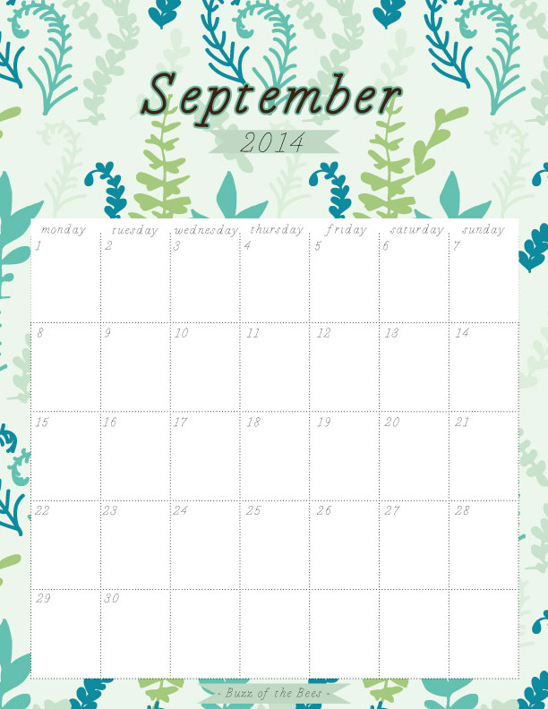 September 2014 Printable Calendar - Buzz of the Bees