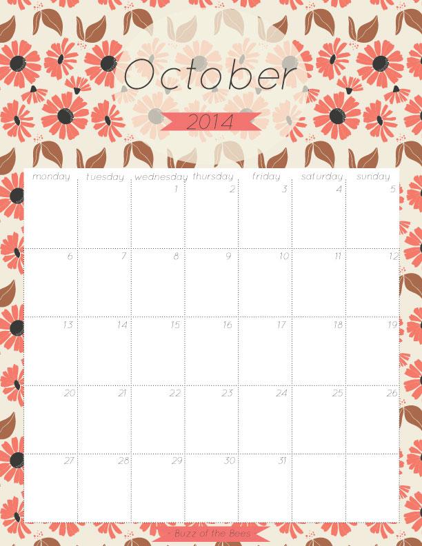 October 2014 Printable Calendar Buzz Of The Bees
